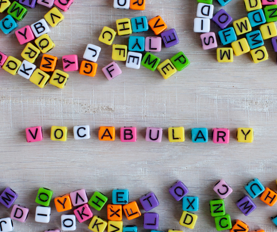 Small lettered beads spelling out the word vocabulary
