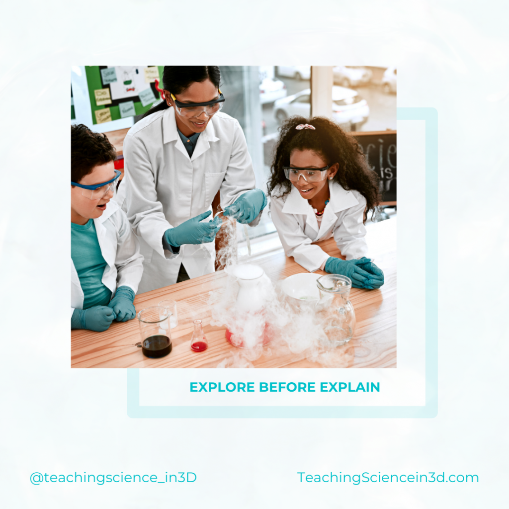 Students exploring in a science classroom with a teacher.  Students explore before constructing explanations in student-centered science classroom.